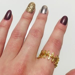 gold and cz leaf ring